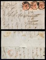 Antichi Stati Italiani - Lombardo Veneto - 15 Cent (6) - Striscia Orizzontale Di Tre Su Lettera Da Cremona A Trieste Del - Stamps