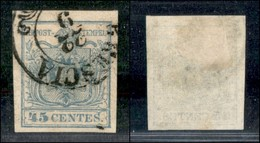 Antichi Stati Italiani - Lombardo Veneto - 1855 - 45 Cent (12d - Oltremare Grigio Chiaro) Usato A Brescia - Cert. AG (2. - Stamps