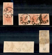 Antichi Stati Italiani - Lombardo Veneto - 15 Cent (20) - Coppia Verticale + Striscia  Orizzontale Di Tre Usata A Milano - Stamps
