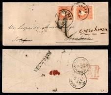 Antichi Stati Italiani - Lombardo Veneto - Coppia Verticale Del 5 Soldi (30 - Stampa Povera) Su Bustina Da Venezia A Bre - Stamps