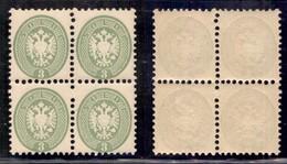 Antichi Stati Italiani - Lombardo Veneto - 1864 - 3 Soldi (42) In Quartina - Gomma Integra (800+) - Stamps