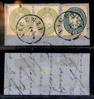 Antichi Stati Italiani - Lombardo Veneto - Bicolore - 3 Soldi (42) Coppia + 10 Soldi (44) Usati A Vicenza 7/7 Su Frammen - Stamps