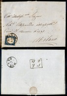 Antichi Stati Italiani - Lombardo Veneto - Bergamo 22.8 (59 - P.ti 5) - 20 Cent (15B - Sardegna) Su Lettera Per Milano ( - Stamps