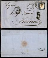 Antichi Stati Italiani - Lombardo Veneto - Bergamo (P.ti 5) + Distribuzione III + 5 Di Tassa - Lettera Per Verona Del 11 - Stamps