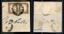 Antichi Stati Italiani - Lombardo Veneto - Bozzolo 22.2 (P.ti 6) - Coppia Del 10 Cent Seppia (14Ad - Sardegna) Su Framme - Stamps