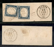 Antichi Stati Italiani - Lombardo Veneto - Darfo 22.7.62 (P.ti 5) - Due 20 Cent (15Eb - Sardegna) Su Frammento - Stamps