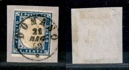 Antichi Stati Italiani - Lombardo Veneto - Domaso 21.5.62 (P.ti 7) Su 20 Cent (15Dc - Sardegna) Su Frammento - Stamps