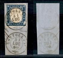 Antichi Stati Italiani - Lombardo Veneto - Gottolengo 31.7.60 (P.ti 6) - 20 Cent Cobalto Grigio (15Cb - Sardegna) - Vacc - Stamps