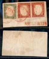 Antichi Stati Italiani - Lombardo Veneto - Milano 28.12.61 (rosso - P.ti 11) + Assicurato (rosso - A Lato) - Frammento C - Stamps