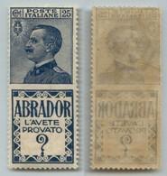 Regno - Pubblicitari - 1924 - 25 Cent Abrador (4) - Gomma Originale - Ben Centrato - Stamps