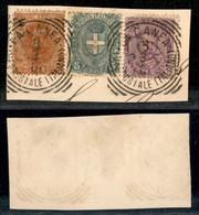 Uffici Postali All'Estero - La Canea - La Canea - Umberto - 3 Valori (47 + 61 + 67 - Regno) Usati Su Frammento - Unclassified