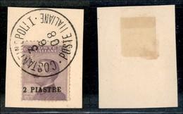 Uffici Postali All'Estero - Costantinopoli - 1908 - 2 Piastre Su 50 Cent Michetti (12) Usato Su Frammento (350+) - Unclassified