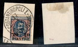 Uffici Postali All'Estero - Costantinopoli - 1908 - 20 Piastre Su 5 Lire Floreale (17) Usato Su Frammento (300+) - Unclassified