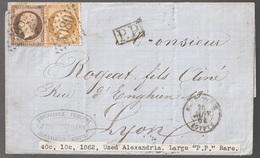 Lettre France N° 21 Et 23 Napoléon GC 5080 Alexandrie Egypte, Large PP Rare Cachet Bleu Paris étranger Au Dos - 1849-1876: Klassik