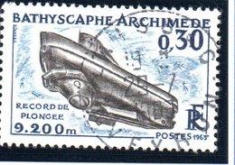 """SCIENCES ET TECHNQUES - 30c  """"Bathyscape """"Arcimède""""""""  N° 1368 Obl. - Oblitérés"""