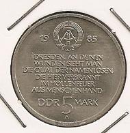 GERMAN ALLEMAGNE ALEMANHA 5 MARK 1985  Restoration Of Dresden Women's Church 136 MTG 245 000 - [ 6] 1949-1990 : RDA - Rép. Démo. Allemande
