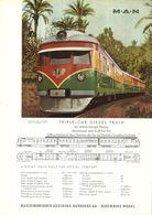 """4485 """"M-A-N TRIPLE CAR DIESEL TRAIN DEVELOPED AND BUILT FOR THE OFF. NAT. DES CHEM. DE FER DE GUINEE CONAKRY"""" ORIGINALE - Railway"""