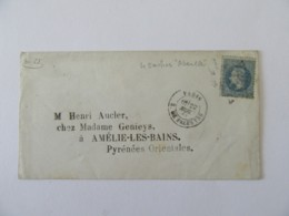 """Timbre Napoléon Lauré 20c YT N°29 Variété """"Abeilles"""" Sur Enveloppe Paris Vers Amélie Les Bains (Pyr. Orientales) 1868 - Marcophilie (Lettres)"""