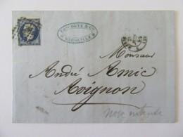 Timbre Napoléon 20c YT N°14A Bleu-noir (cassure Du Cadre Au Sud, Belles Marges) Sur Lettre Marseille Vers Avignon - 1856 - Marcophilie (Lettres)