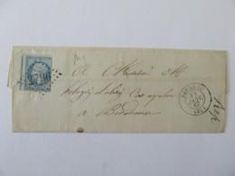 Timbre Napoléon 20c YT N°22 Variété Piquage Décalé Sur Lettre Sans Pli Pauillac Vers Bordeaux - 1867 - Marcophilie (Lettres)