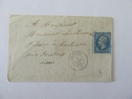 Enveloppe Sans Pli Timbrée (YT N°22) - Gandelu (GC 1619) Vers Hartennes (Aisne) - Cachet OR (Origine Rurale) - 1865 - Marcophilie (Lettres)