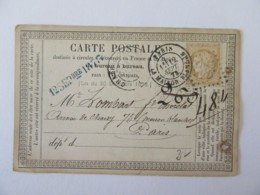 Timbre Cérès YT N°59 Sur Carte Précurseur - Château-Thierry Vers Paris - 1873 - Marcophilie (Lettres)
