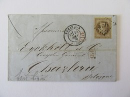 Timbre Napoléon Lauré 30c YT N°30 Brun, Fond Ligné - Cachet PD Rouge - Besançon Vers Charleroi (Belgique) - 1870 - Marcophilie (Lettres)