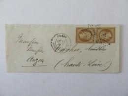 2 Timbres Napoléon III 10c YT N°21 Sur Enveloppe Paris Vers Auzon - Cachet étoile 13, Type 22 Et Paris à Clermont - 1863 - 1849-1876: Classic Period