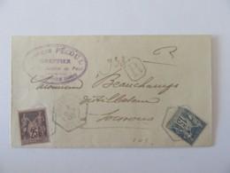 Enveloppe Recommandée + Cachet Levée Exceptionnelle Soissons 3 Octobre 1900 - Timbres SAGE YT N°90 Et 91 - Rare - 1877-1920: Période Semi Moderne