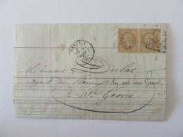 Lettre Grenoble Vers Saint Geoire (Isère) - Timbres Napoléon Lauré 10c YT N° 28B (Paire Horizontale) - 1871 - 1849-1876: Classic Period