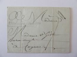 Révolution Française - Marque Linéaire NIORT Sur Lettre Datée Mars 1790 - Vers Cognac - 1701-1800: Précurseurs XVIII