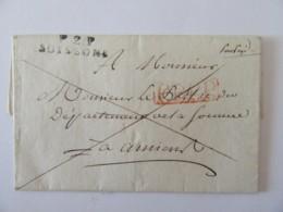 Marque Linéaire P2P SOISSONS + PPPP Rouge Sur Lettre Datée 1816 Vers Amiens (préfet De La Somme - Postmark Collection (Covers)