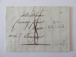 Marque Linéaire 49 REIMS Fine Sur Lettre Datée 1811 Vers Limoges - Marcophilie (Lettres)
