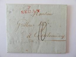 Marque Linéaire 7 SEDAN Rouge Sur Lettre Datée 21 Thermidor De L'An 13 (1805) - Marcophilie (Lettres)