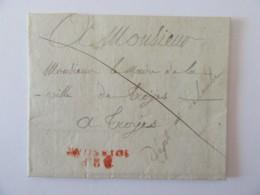 Marque Linéaire P2P SOISSONS Rouge Sur Lettre Vers Troyes Datée 1819 - Marcophilie (Lettres)