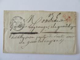 Lettre Riberac Vers GUADELOUPE - Cachet PP Port Payé Rouge + Cachet Type 12 - 1834 - 1801-1848: Precursors XIX