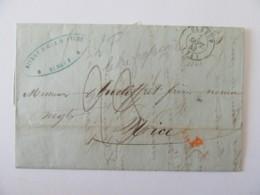 Marque Linéaire LF Rouge (Lettre Française) Sur Lettre Elbeuf Vers Nice (Piémont) - 7 Septembre 1843 - Postmark Collection (Covers)
