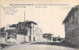 MILITARIA Guerre 14-18 - BATAILLE De La MARNE : BERZIEUX (51) Près STE MENEHOULD : Un Rue En Ruine - CPA  - Champagne - Guerre 1914-18