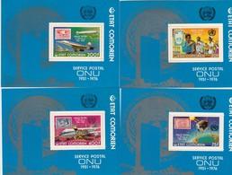 COMORES LES 4  ** BLOC  SERVICE POSTAL ONU  PERFORED / 4 - Komoren (1975-...)