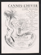 Pub Papier 1947 Tourisme Cannes 06 Et Deauville Dessin Femme Sirene - Publicités