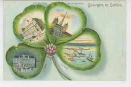 """SUISSE - GENEVE - Jolie Carte Vues Multiples Dans Trèfle """"Souvenir De GENEVE"""" Signée E. Schlemo 1898 - GE Genève"""