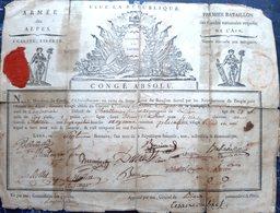 ARMEE DES ALPES 1796 BONAPARTE CAMPAGNE  D'ITALIE CERTIFICAT DE CONGE ABSOLU DU SERGENT BILLET 7 BRUMAIRE AN 3 - Documents