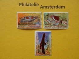 Indonesia 1975, FAUNA FISH FISCHE VISSEN POISSONS PECES PESCI: Mi 827-29, ** - Fishes