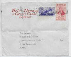 ITALIE - 1934 - ENVELOPPE PUB HOTEL MONACO à VENEZIA => PARIS - 1900-44 Victor Emmanuel III