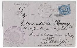 ITALIE - 1882 - LETTRE De VICENZA => PARIS - 1878-00 Humbert I