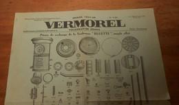 Vermorel. Pièces De Rechange De La Soufreuse Bluette Simple Effet. 1937. - Publicités