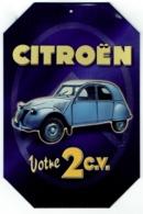 Publicité. Petite Plaque En Tôle. Citroën 2 CV. Editions Atlas. - Advertising (Porcelain) Signs