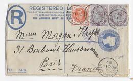 GB - 1897 - ENVELOPPE ENTIER RECOMMANDEE LONDON BETTWS.Y.COED => PARIS - 1840-1901 (Regina Victoria)