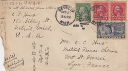 COVER USA. 1921. DETROIT TO LYON FRANCE  CHINESE WRITING  / 5 - Francobolli