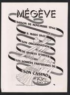 Pub Papier 1946 Tourisme Voyage MEGEVE Sport D'hiver Ski Casino Jeu De Cartes 7 - Advertising